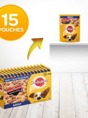 Pedigree Adult Chicken & Liver Chunks  Wet Dog Food – 70 g (Pack of 15)