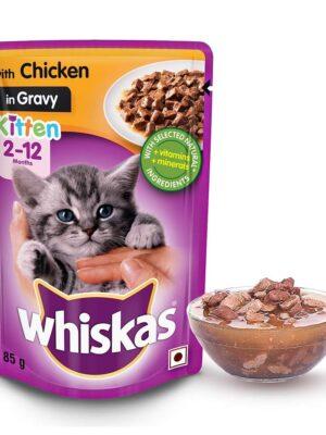 Whiskas Kitten Chicken Gravy, Wet Cat Food – 12 Pouches (12 x 85g)