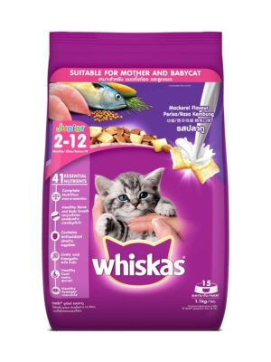 Whiskas Kitten Junior Mackerel Flavour Dry Cat Food – 1.1kg & 3kg